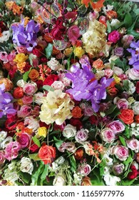 Bright background of flowers with roses, orchids