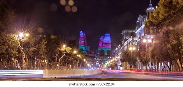 Bright Baku nights . Panoramic view of Baku. Night routes in Baku.
