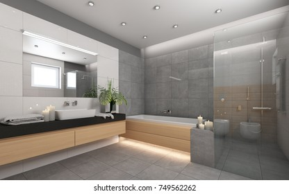 Bright Bathroom With Candles