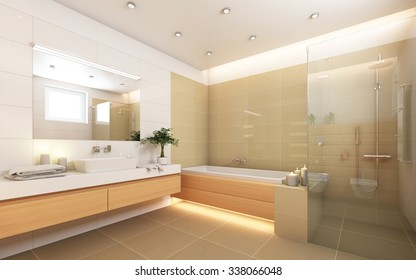 Bright Bathroom With Candles 3d Rendering