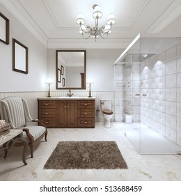 Bright bathroom in the English style with large glass shower and brown bathtub furniture. 3D render.