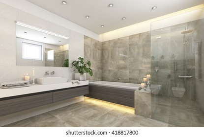 Bright Bathroom In Grey With  Candles 3d rendering