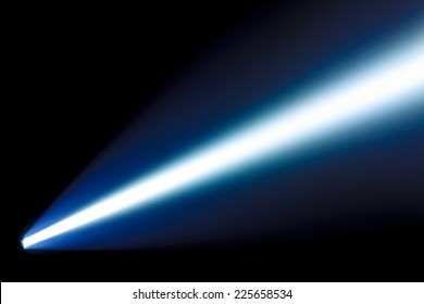 Bright beam from the  power flashlight in the dark