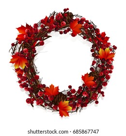 Bright beautiful autumn wreath with leaves and berries. Decor for invitations, greeting cards, posters.