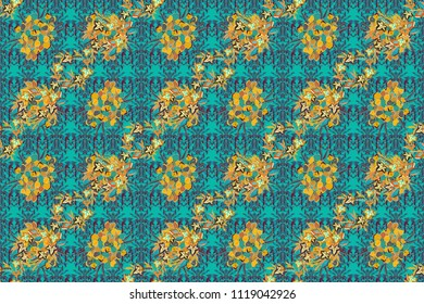 Bright beautiful flowers seamless background. Abstract cute floral print in yellow, green and blue colors. Raster illustration.