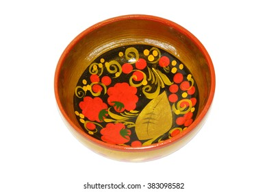 bright and beautiful Khokhloma painted wooden utensils