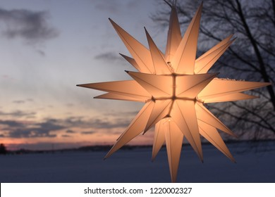 Bright and beautiful Moravian Star in winter.