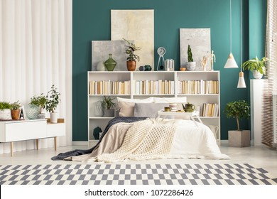 Bright bedroom interior with paintings on white bookcases behind the bed with a breakfast tray on it