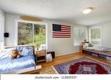 Bright Bedroom With Red Bed Open Balcony Door And Beige Walls Simple American Farm