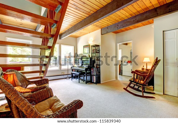 Bright Bedroom Red Bed Open Balcony Stock Photo (Edit Now ...