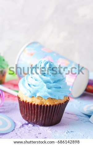 Bright Birthday Background With Fresh Tasty Cupcakes And Decorations