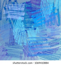 Bright blue abstract background, drawn with colored pastel crayons.
