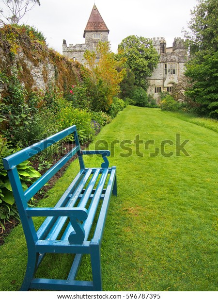 Astounding Bright Blue Bench Garden Lismore Castle Stock Photo Edit Gmtry Best Dining Table And Chair Ideas Images Gmtryco