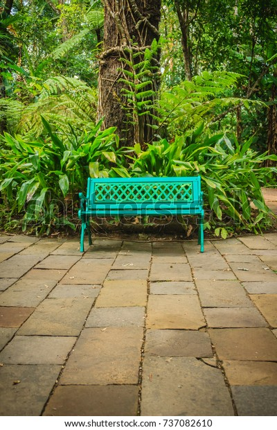 Super Bright Blue Bench On Concrete Brick Stock Photo Edit Now Gmtry Best Dining Table And Chair Ideas Images Gmtryco