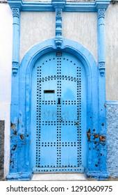 Bright blue door in the historic district in Rabat, Morocco