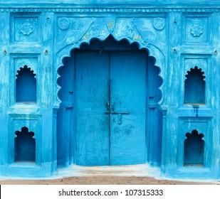 Bright blue doorway in India