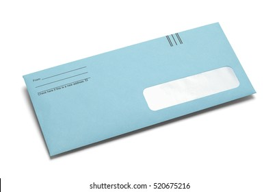 Bright Blue Envelope with Copy Space Isolated on White Background.