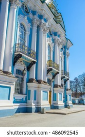 The bright blue facade with white columns of the St Nicholas Naval Cathedral in St Petersburg, Russia.