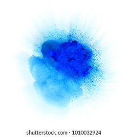 Bright blue fiery explosion with sparks isolated on white background