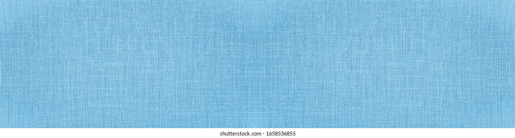 Bright blue natural cotton linen textile texture background banner panorama - Shutterstock ID 1658536855