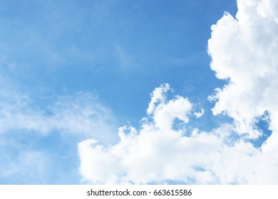Bright blue sky with group of cloud, summer cloudy sunshine day background.