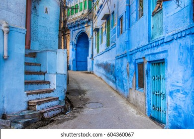 The bright blue streets of the Blue City of Jodhpur, India.