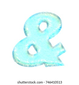 Bright blue water style ampersand or and sign symbol in a 3D illustration with a seafoam green color and wavy liquid surface texture basic bold font isolated on a white background with clipping path.