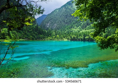 Bright blue waters and majestic mountains. Jiuzhaigou nature reserve and national park, China.