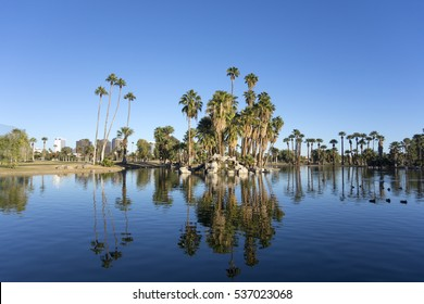 Bright blue winter sky on the lake in Encanto park located right in downtown of Phoenix, Arizona; Copyspace