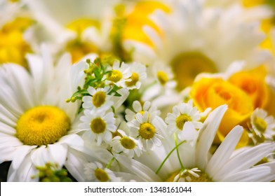 Bright bouquet of big and small chamomiles and yellow roses