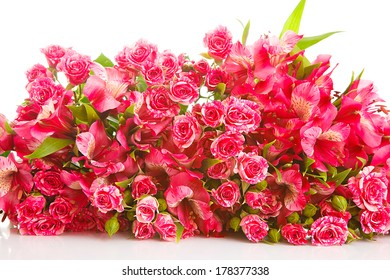 bright bouquet flowers on a white background, is isolated