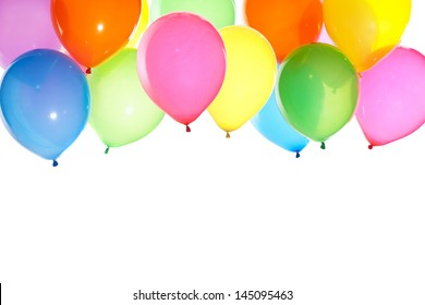bright bunch of balloons background isolated on white