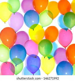 bright bunch of colorful balloons background isolated on white