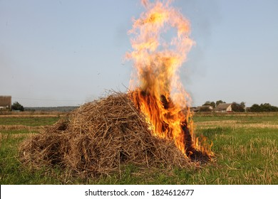 Bright burning haystack fire in the rural field, drought, burning of dry potato tops straw in the village at autumn day