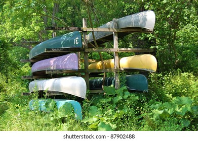 Bright Canoes on Rack
