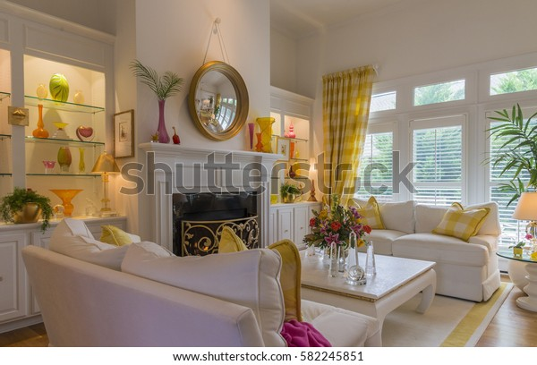 Bright Cheerful Living Room White Walls Stock Photo Edit