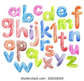 Bright Children's Alphabet in Sketch. Hand Drawing