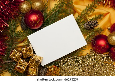 bright christmas background with a blank card