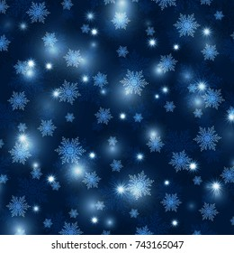 Bright Christmas background with snowflakes and sparkles