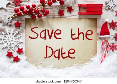 Bright Christmas Decoration, Snow, English Text Save The Date