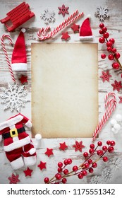Bright Christmas Flat Lay, Vertical Paper, Copy Space, Snow