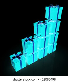 Bright christmas gifts on a black background. 3D illustration. Anaglyph. View with red/cyan glasses to see in 3D.