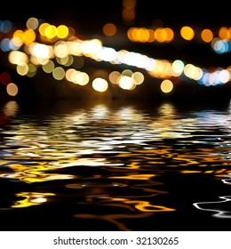 Bright city bokeh background with rendered water waves