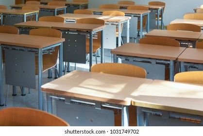 Bright classrooms and desks