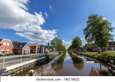 The bright clear blue sky with white clouds on Tonndorf  canal ,Netherlands.