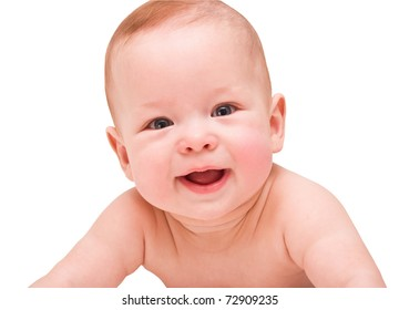 Bright closeup portrait of adorable baby on white