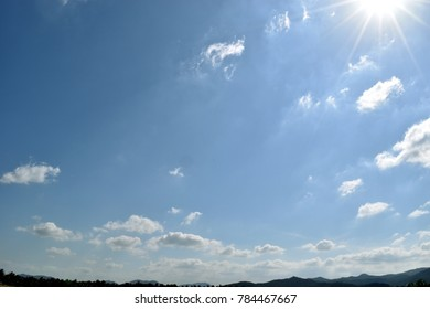 Bright cloud on beautiful blue sky,Fluffy clouds formations at tropical zone