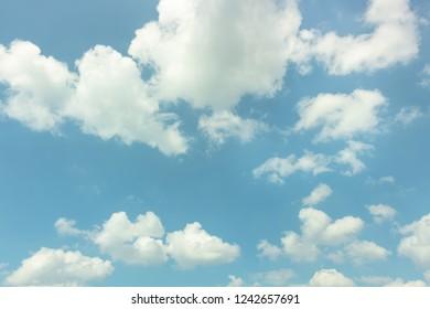 Bright clouds in blue sky
