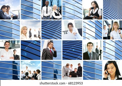 Bright collage made of many business pictures and modern textures