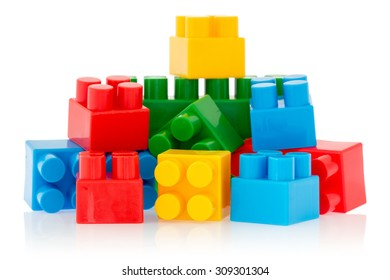 Bright color building blocks isolated on white background